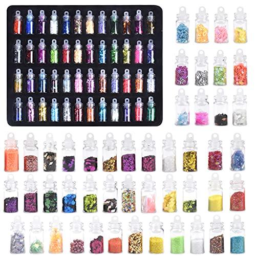 Chstarina Set di 48 Bottiglie Glitter per Unghie, Polvere Glitter, Paillettes per Unghie, 3D Decorazione per Unghie, Nail Art Punte del manicure per Viso Corpo Occhi Cosmetici Capelli Ombretto