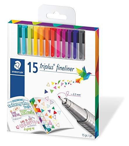 STAEDTLER 334 C15 Triplus Fineliner Set mit 15 brillianten Farben