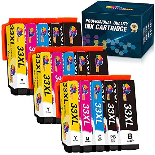 Clorisun 33XL Cartucce d'inchiostro per Epson 33 XL 33XL Nero Ciano Magenta Giallo per Epson XP 900 XP7100 XP830 XP 7100 XP-900 XP-7100 XP 640 XP630 XP540 XP 830 XP 630 XP-830 XP-630 XP-540(15 Pezzi)