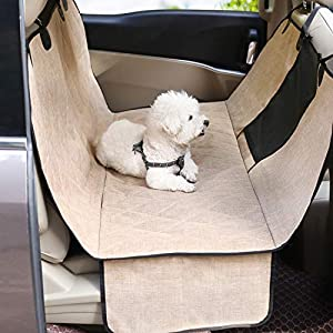 Vivaglory Dog Car Seat Covers, Mesh Visual Window with Extra Strap & Buckles, Waterproof & Nonslip Car Back Seat Cover Convert to Bench Seat Cover & Trunk Liner & Dog Hammock, Heather Khaki L