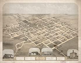 1869 Map Birds eye view of Pella, Marion County, Iowa, 1869 - Size: 18x24 - Ready to Frame - Iowa |