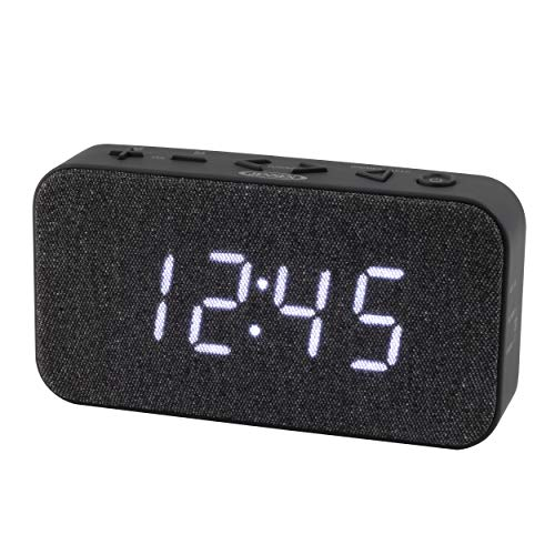 JENSEN FM Digital Dual Alarm Clock Radio, Gray