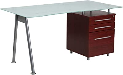 Flash Furniture Glass Computer Desk with Mahogany Three Drawer Pedestal