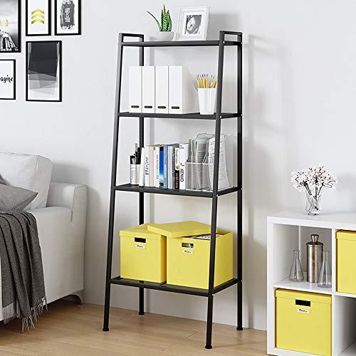 DlandHome 4 Ebenen Standregal, Bücherregale, Multifunktionale Leiter Regal Metall für den Rahmen, für Wohnzimmer, Schlafzimmer, Küche,Schwarz
