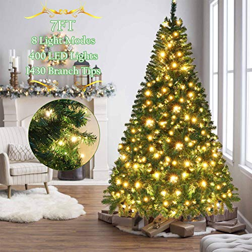 OurWarm 7ft Pre-Lit Artificial Christmas Tree PVC Xmas Tree with 400 UL-Certified LED Lights and 1430 Branch Tips, Foldable Metal Stand, Green