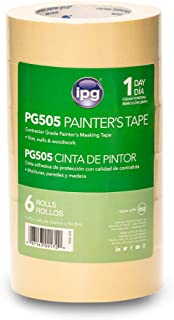 """IPG PG505, 1-Day Masking Tape, 1.41"""" x 60 yd, Tan, (6-Pack)"""