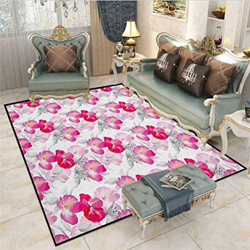 Floral Bathroom Rug Rugs for Living Room Watercolor Poppy Flowers Vivid Color Environment Image Romantic Lovely Plants Carpet Ball Table Magenta Pink Grey 6.5 x 8 Ft