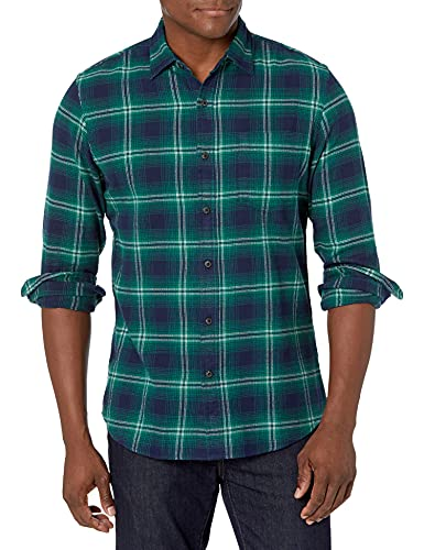 Amazon Essentials Men's Slim-Fit Long-Sleeve Flannel Shirt, Navy/Green Ombre, Medium