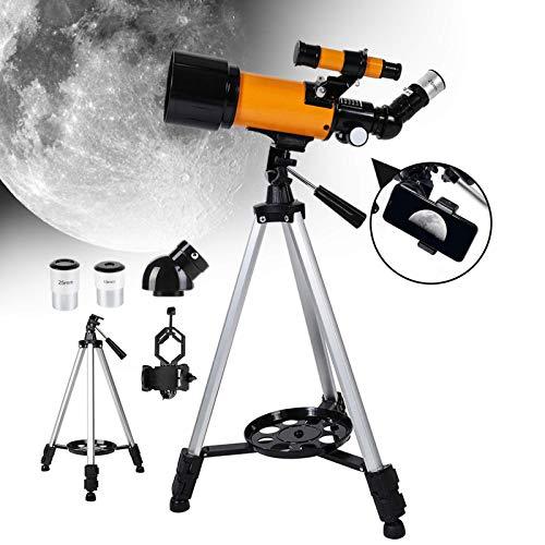 IF.HLMF Telescopio para Principiantes, telescopio de Viaje monocular astronómico Reflector Profesional 16X y 40X con trípode Ajustable y Visor de buscador y Soporte para teléfono niños y ADU