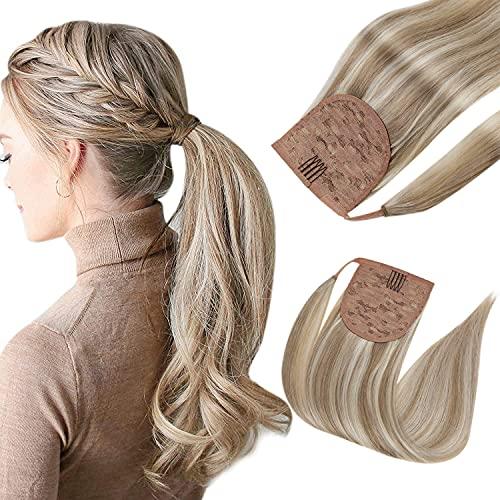 Easyouth Cheveux Extension Ponytail 12Pouce Couleur 8P60 Marron Clair Rehaussé de Blond Platine 70g Real Cheveux Ponytail Extension pour Women