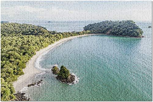 Bernice Winifred Nationalpark Manuel Antonio, Costa Rica - Weltkarte - Luftaufnahme des tropischen Espadilla-Strandes und der Küste - Puzzle-1000 Piece 19.7In X 29.5In