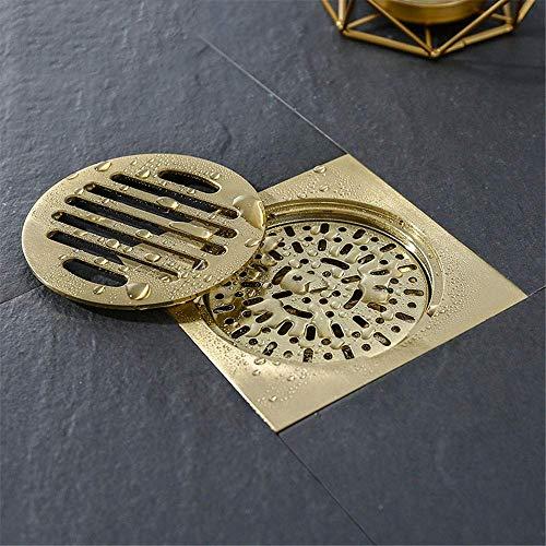 DYR Messing Duschablauf Abfall Quadrat Badezimmer Bodenablauf Abwassersieb Geruchsneutrale Bodenabfallgitter, gebürstetes Gold, 100X100mm
