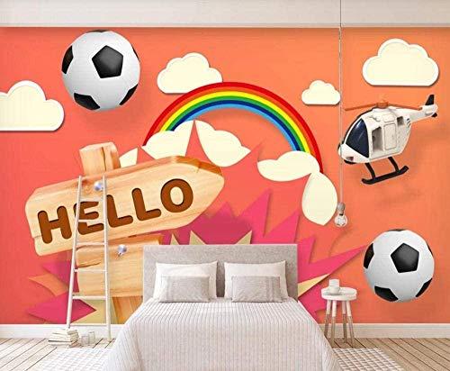 Papel pintado de arco iris de dibujos animados de fútbol dibujado a mano Papel pintado no tejido Mural de ef Pared Pintado Papel tapiz 3D Decoración dormitorio Fotomural sala sofá mural-200cm×140cm
