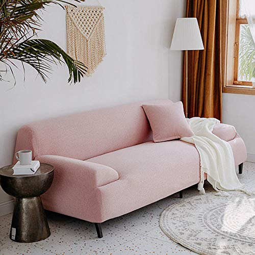 Fsogasilttlv Sofa Protector Settee Sofa Covers 2 Seater and 3 Seater,Solid Color Sofa Cover Sectional Elastic, Stretch Living Room Couch Cover Pink 1 145-185cm and 190-230cm(2pcs)