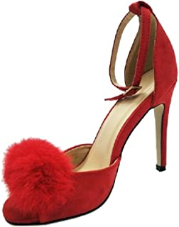 THE LONDON STORE Women's Red Velvet Pointed Pumps