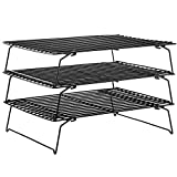 CHEFMADE Baking and Cooling Rack Set, 13.5-Inch 3-Tier Non-Stick Stackable Collapsible Rectangle Wire Rack for Oven Baking (Black)