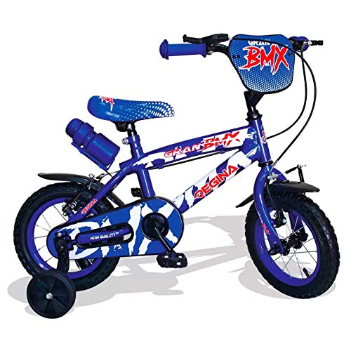 Mediawave Store - Regina BMX GVC-5422 Bicicletta per Bambini Misura 12 con 2 Freni, Bici per Bambini con rotelle, 3-4 Anni, Bicicletta per Bambini Piccoli, Bici BMX con Borraccia (Blu)