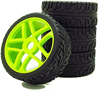 1:8 Off-Road RC Car Buggy 17mm Hub Wheel Rims and Tires H Thread Pattern Green Pack of 4