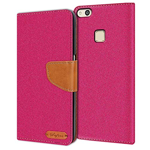 Verco P10 Lite Hülle, Schutzhülle für Huawei P10 Lite Tasche Denim Textil Book Hülle Flip Hülle - Klapphülle Pink