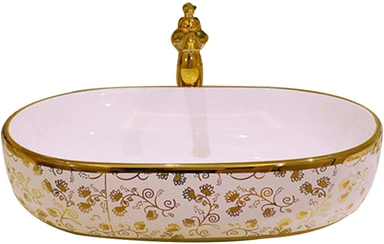 YLYWCG Aufsatzbecken Badezimmer Keramik Waschbecken, Oval Glanz Aufsatzbecken Waschbecken Keramik , 58X40X15 cm (Wasserhahn Nicht Inbegriffen)