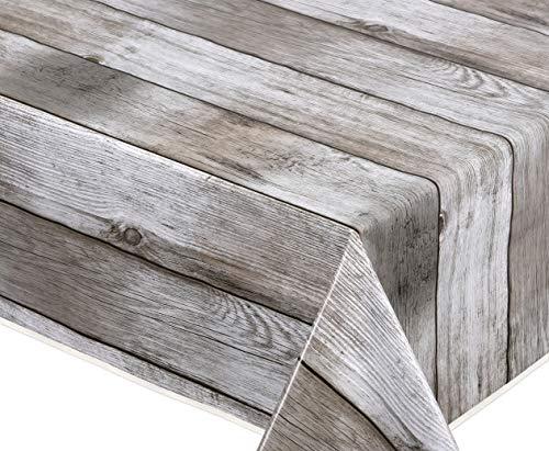 BEAUTEX Holz beige Wachstuch Tischdecke glatt abwischbar Garten Tischdecke RUND OVAL ECKIG, Größe wählbar (Eckig 140x220 cm, mit Schrägband)