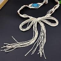 ボヘミアンスタイルのワックスロープ編みこみのレディースベルト女性の編みこみベルトエスニックスタイルのスカートベルト宝石ベルトドレスユニバーサルアクセサリーベルトシングルループベルト