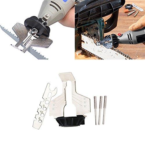 Schwert Schärfen Wellenschliff Werkzeug Set, uxradg Kettensäge Zahn Schleifstifte Tools Führungsbohrer Adapter Mini Bohrer Power Tool Zubehör Set