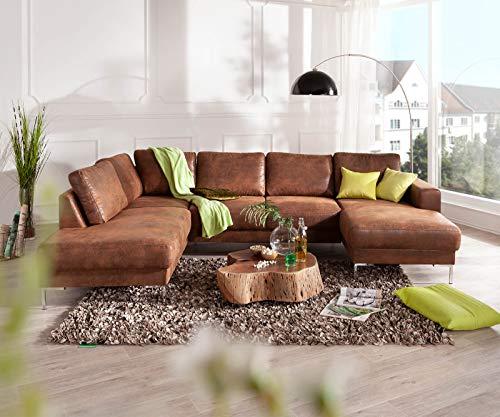 DELIFE Couch Silas Braun Antik Optik 300x200 cm Ottomane Links Designer Wohnlandschaft