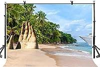 HD 10x7ft砂浜の背景シーサイドビーチ砂彫刻アート写真の背景写真スタジオの背景小道具LYK046