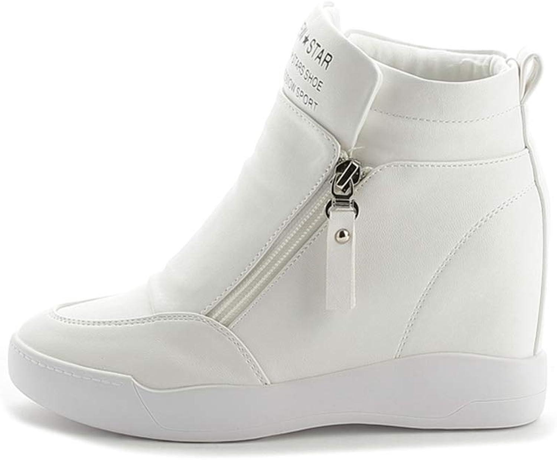 ASO-SLING Women Wedges Sneakers Hide Heels Waterproof Anti-Slip High Top Ankle Zipper Leisure shoes