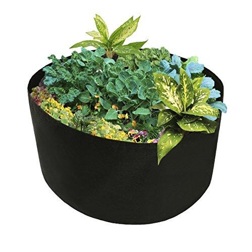 JYCRA Sac de plantation surélevé en tissu - Récipient pour plantation rectangulaire et respirant - Pot pour plantes, fleurs et légumes, Tissu, Noir , Dia 46 x H 22inch