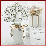 Profumatori per ambiente in ceramica bianco o tortora con albero della vita, strass e ciondolo mappamondo, bomboniere nozze utili 2019, completo di scatola regalo (Bianco-con confezione rosa)