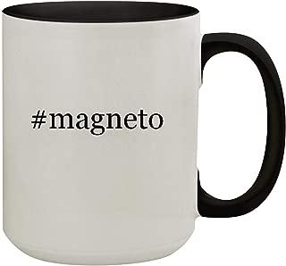 #magneto - 15oz Hashtag Colored Inner & Handle Ceramic Coffee Mug, Black