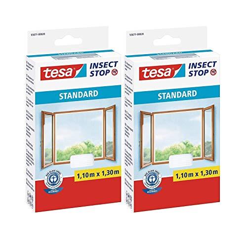 tesa Insect Stop Standard Fliegengitter für Fenster - Insektenschutz zuschneidbar - Mückenschutz ohne Bohren - 2 x Fliegen Netz weiß - 110 cm x 130 cm