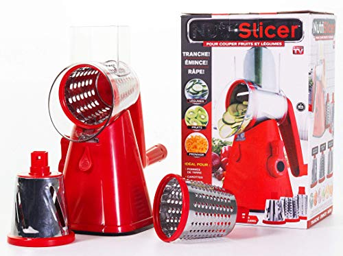 NUTRISLICER 3-in1 Spinning Rotating Mandoline and Countertop Food Slicer, Chopper, and Grater As Seen On TV