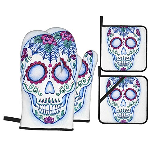 Oven Mitts and Pot Holders Sets of 4,Sugar Skull Day Of The Dead Colorful Skull With Floral Ornament Hand Drawn Style Doodle,BBQ Gloves Resistant Hot Pads for Kitchen Cooking Baking Grilling