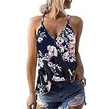 Camisetas Mujer Tirantes Sexy Verano 2019 ,BuyO Camiseta Botones Sin Mangas con Cuello En V Tops Sin Tirantes Camisas Gasa Casual Flojas Blusas