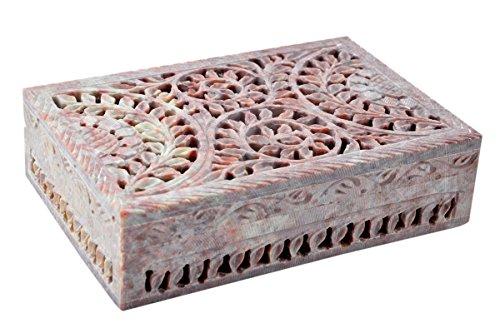 Hashcart Organizador de joyas hecho a mano de piedra jabonosa – hermosa caja de diseño floral (6 x 4 pulgadas)
