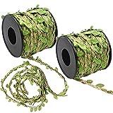 FYSL 20M Cuerda de cañamo Natural de Hoja, Guirnalda Artificial de Hojas de Follaje, Cuerda de Yute con Hojas, para Decoración del Hogar, de Bodas