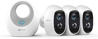 EZVIZ C3A - Cámara con Batería Sistema de Seguridad y Vídeo Vigilancia Triple Pack con W2D WiFi 2.4GHz 1080p FHD Exterior/Interior Visión Nocturna Audio Bidireccional y Recargable