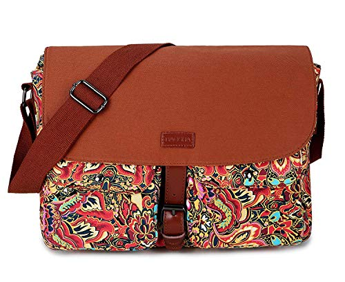 """★Material: Pretty printing floral pattern Canvas ★Size:13.5""""x9.8""""x5"""", Fits Up to 14inch Laptop; your personal cosmetic, Book, umbrella, wallet, laptop and anything will in their right position ★LightWeight:1.3Pounds ★With adjustable shoulder straps f..."""