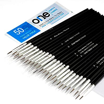 50 Pcs Pack of Synthetic Sable Detail Paint Brushes for Acrylic, Oil and Watercolor Painting - Pointed Round