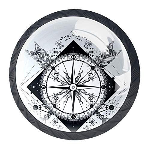 Drawer Handles Pull Round Crystal Glass for Home Kitchen Dresser Wardrobe Compass and Crossed Arrows Tattoo