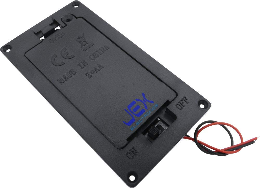 Jex Electronics Two/2X AA Panel Mount DIY Battery Holder Case Box 3V with Power Switch & Wire