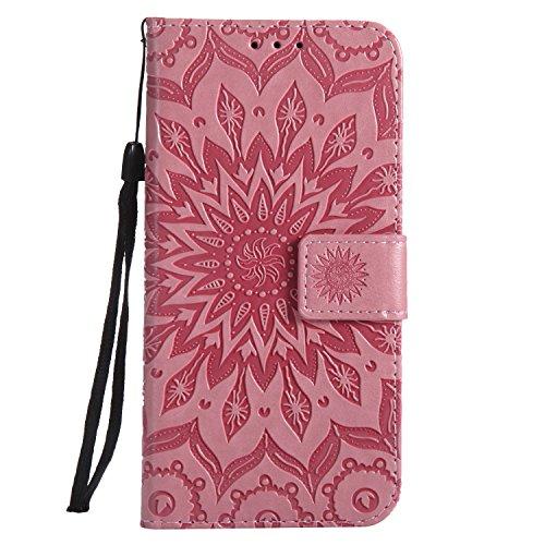 Ysimee Coque Compatible avec Huawei Y5 2018 Fleur Portefeuille en Cuir Etui de Protection avec Fentes de Cartes Fermeture Magnétique Fonction Stand Case Couverture à Rabat Housse,Rose