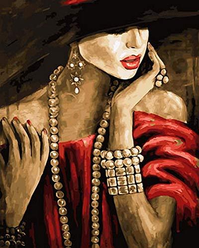 yyyaa Rahmenlose DIY Figur, Ölfotografie Ölgemälde nach Zahlen, nach Zahlen zum Malen von Wohnkultur, 40x50cm, Frau mit Hut