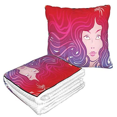 KIMDFACE Manta de Viaje súper Suave,Gráfico Moderno Sirenita Cara y Cabello Ondulado Colores Vibrantes Arte de Mujer de fantasía Rojo Violeta Crema,Manta Plegable,Almohada cómoda