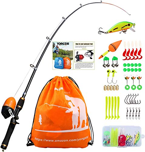 YONGZHI Kids Fishing Pole with Spincast Reel Telescopic Fishing Rod Combo Full Kits for Boys, Girls, and Adults-Orange