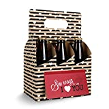 FaCraft Valentines Day Gifts for Him or Her - Six Pack Greeting Card Box (Set of 4) - Paper Anniversary Gifts for Him, Craft Beer Gifts for Men, Women, Boyfriend, Man Gifts, Beer Lovers