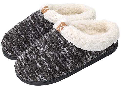 Women's Comfort Memory Foam Slippers Plush Lined House Shoes Indoor, Outdoor Anti-Skid Rubber Sole (Large / 9-10 B(M) US,WBlack)